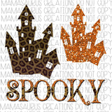 Spooky House Leopard and Glitter Digital Design