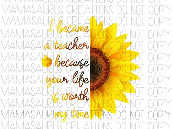 Teacher Sunflower Digital Design