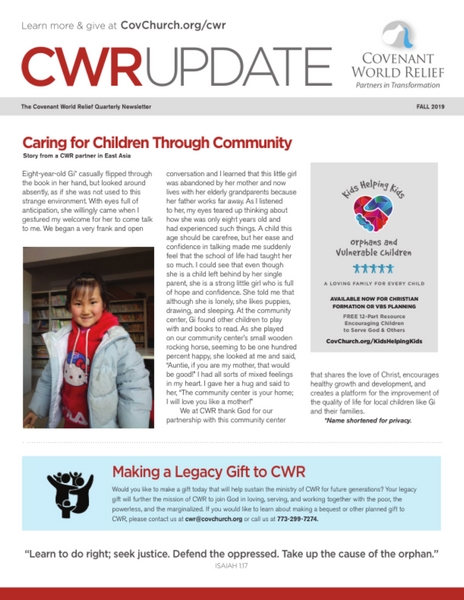 Covenant World Relief Ministry Update (Fall 2019)