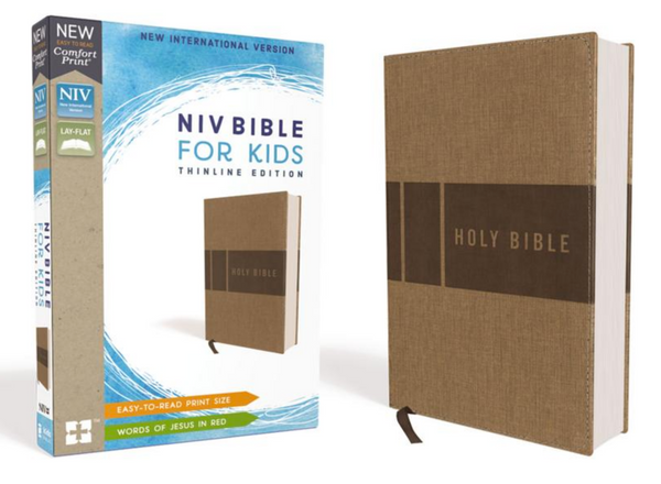 NIV Bible for Kids Thinline edition (Tan Leathersoft cover)