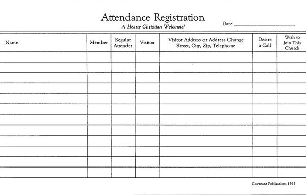 Attendance Registration Pads