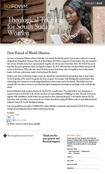 Friends of World Mission (FOWM) Project Appeals