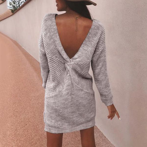 Sexy V Collar Backless Long Sleeves Knitting Plain Long Sweater dffdac9e7