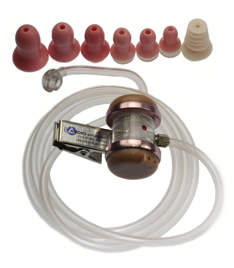 173-OTSD-R On-Camera Universal Audioclarifier with Ear Tips for RIGHT EAR, Straight Tube - Double Receiver Clip