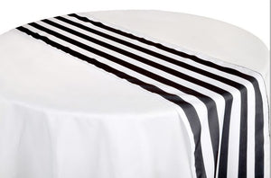 Striped Table Runner, 12 Black Striped Table Runner, Black and White Striped Table Runner
