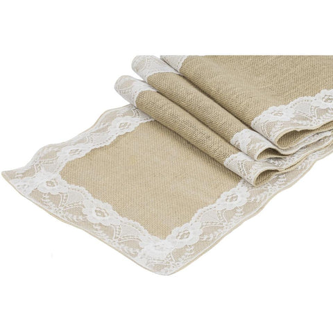"Get 12 Burlap with Lace Table Runner Size 12""x108"""