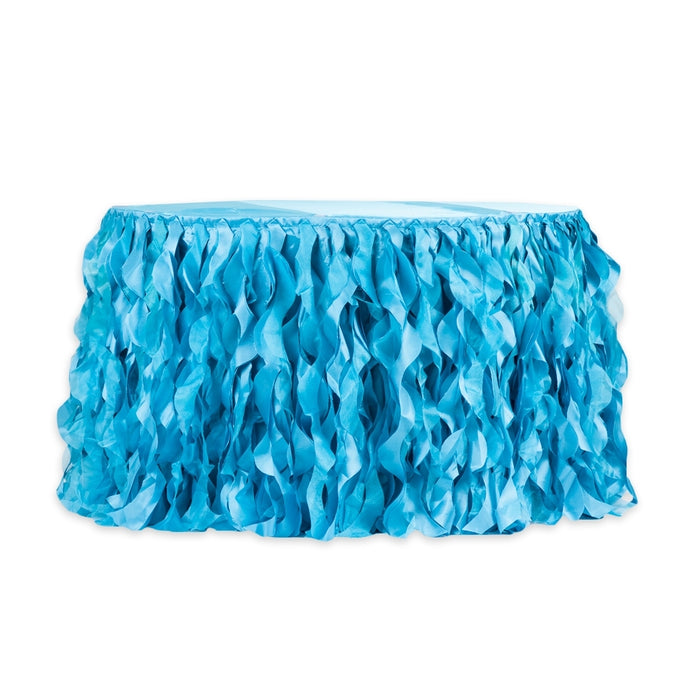 Aqua Blue Curly Willow Table Skirt