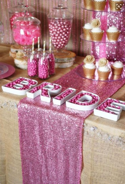 Pink Sequin Table Runner