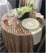 Load image into Gallery viewer, Striped Sequin Tablecloth/Geometric Sequin Art Deco Tablecloth Rose Gold/Blush