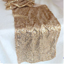 Load image into Gallery viewer, 10 Champagne Gold Sequin Table Runner
