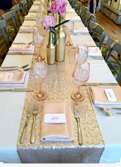 Get 10 Champagne Gold Sequin Table Runner