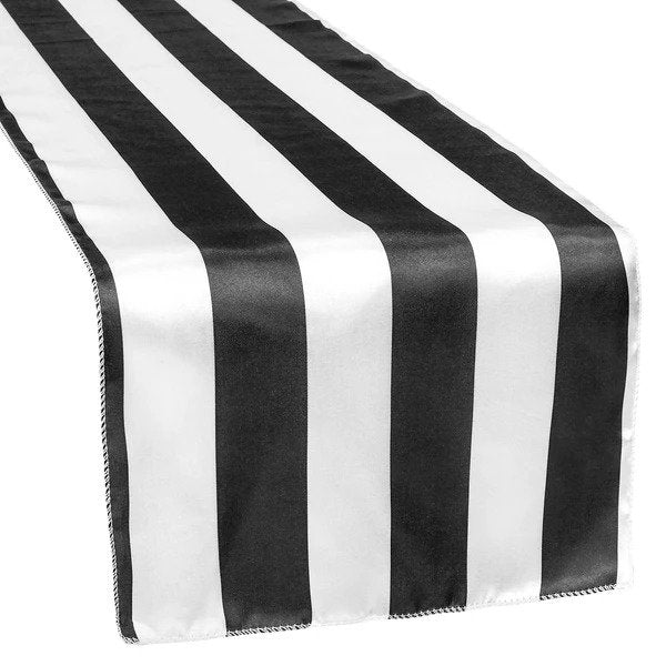 Get 12 Black and White Stripe Table Runner