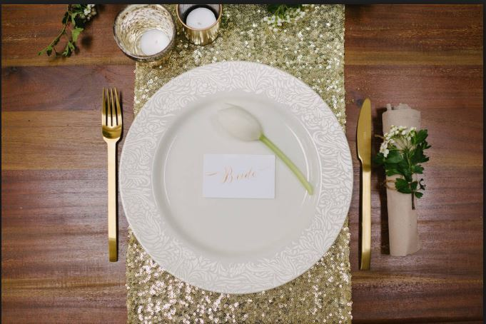 12 Light Gold Sequin Table Runner