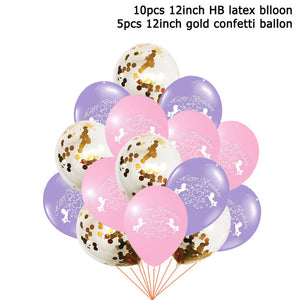 15pcs Pink Unicorn Balloon Birthday Unicorn Party Decoration Kids Latex Ballons Gold Confetti Baloons Baby Shower Party Supplies