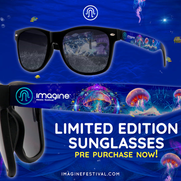 Limited Edition Imagine Music Festival Custom Sunglasses | Black on Black Smoke Lenses