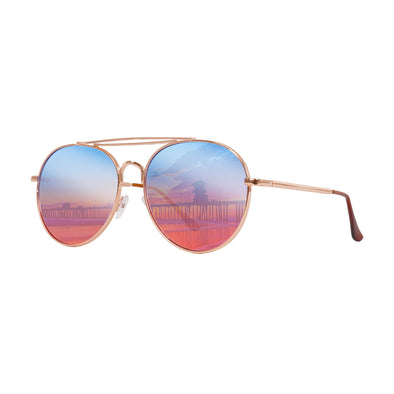 Retro Collection | Two-Tint Aviator Sunglasses Blue/Pink