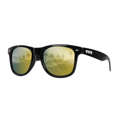 Eye Love Shadez | Wayfarer Sunglasses Collection | Black + Gold Reflective Lens Angle