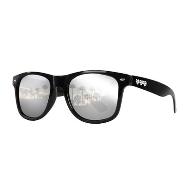 Eye Love Shadez | Wayfarer Sunglasses Collection | Black + Silver Reflective Lens Angle