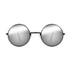 John Lennon | Retro Collection Round Sunglasses | Black With Mirrored Lens Front