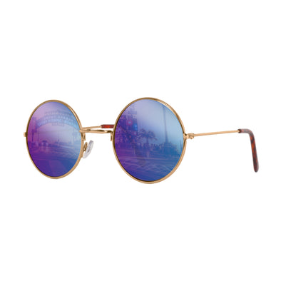 John Lennon | Retro Collection Round Sunglasses | Gold With Mirrored Blue Lens