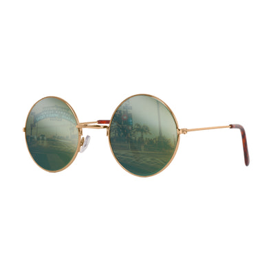 John Lennon | Retro Collection Round Sunglasses | Gold With Green Mirrored Lens