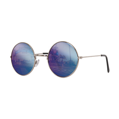 John Lennon | Retro Collection Round Sunglasses | Silver With Blue Mirrored Lens