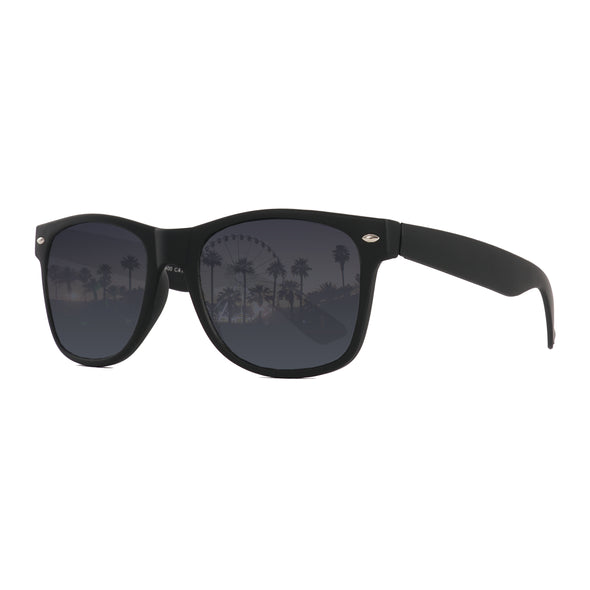 Wayfarer Sunglasses Collection | Black on Black Smoke Lenses Angle