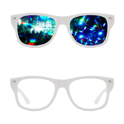 white Diffraction Refraction Rave Glasses effect