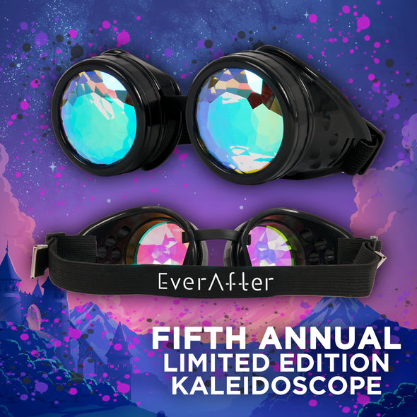 Limited Edition Ever After Music Festival | Steampunk Kaleidoscope Round Goggles | Black