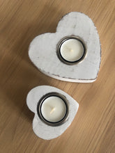 Load image into Gallery viewer, Pair of White wooden heart tea light holders