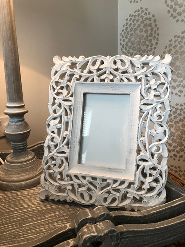 White Filigree Frame
