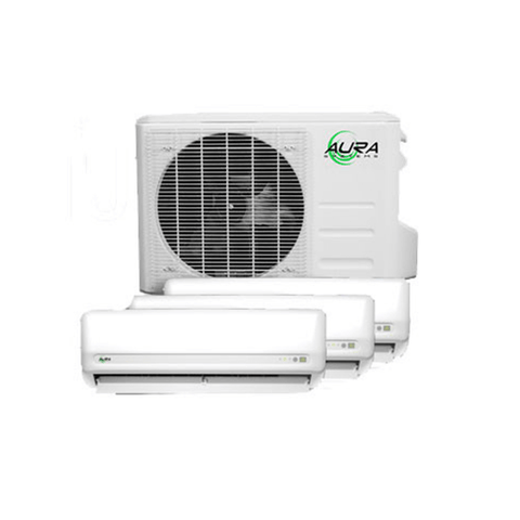 Image of Aura Systems 27,000 BTU Mini Split Tri-Zone Air Conditioner Triple 9,000 BTU Air Handlers & Heat Pump-AU-027TZ-westtradinghouse.com