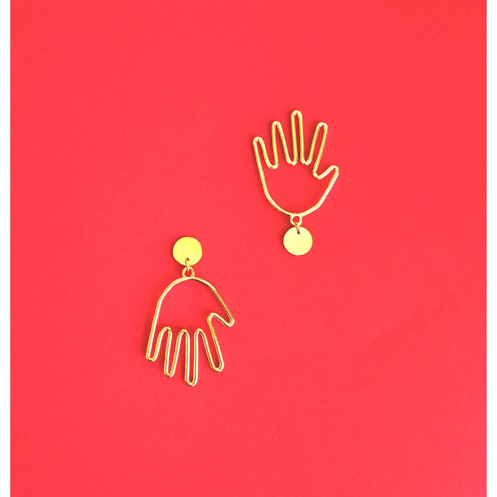 Hand Earrings - Gold Brass