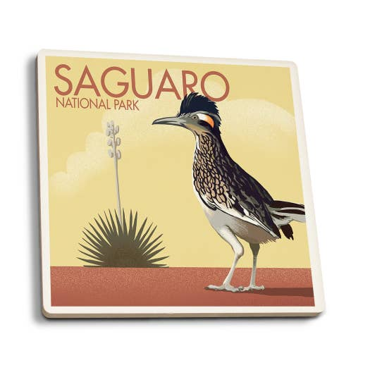 Saguaro National Park - Arizona Roadrunner Lithograph Coasters