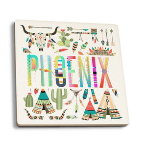 Phoenix - Arizona Icons Tribal Inspired Theme Ceramic Coasters