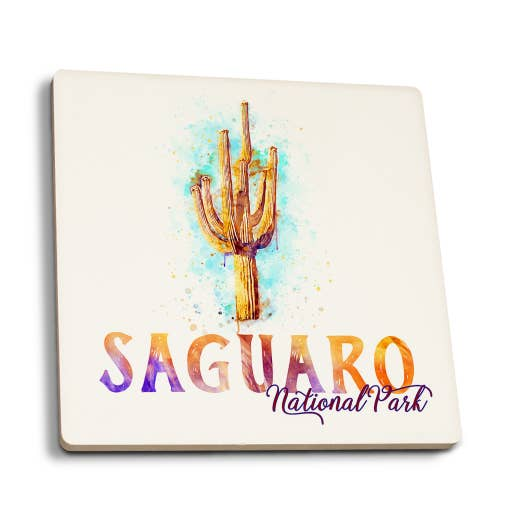 Saguaro National Park - Arizona Cactus Watercolor Coaster