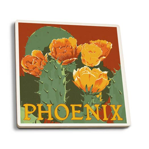 Phoenix - Arizona Prickly Pear Cactus Letterpress Coaster
