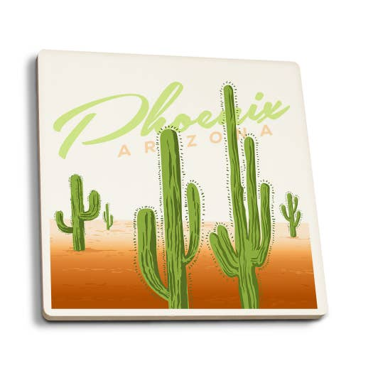Phoenix Arizona Cactus Vector Ceramic Coasters
