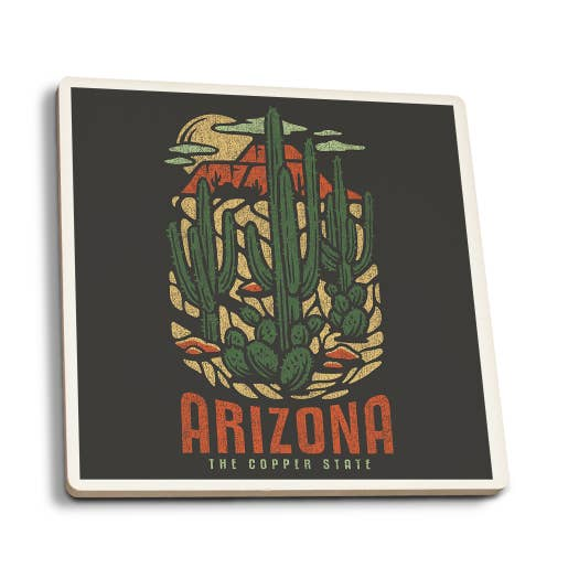 Arizona - Distress Vector Shapes Ceramic Coasters