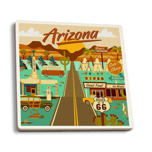Arizona - Route 66 Geometric Ceramic Coasters