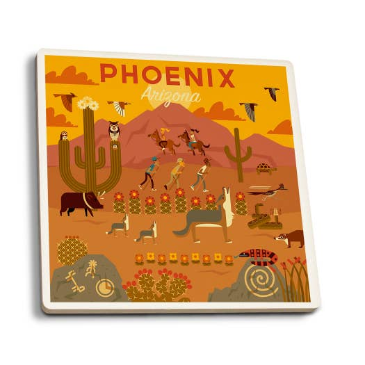 Arizona Geometric Ceramic Coaster