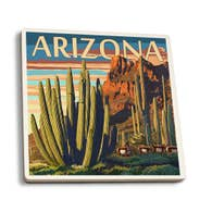 Organ Pipe Cactus Ceramic Coaster