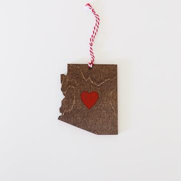 Arizona Heart Ornament | Stained Wood
