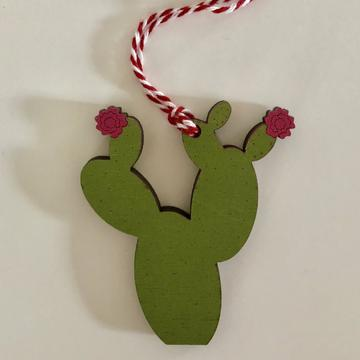 Prickly Pear Ornament | Pink Flowers
