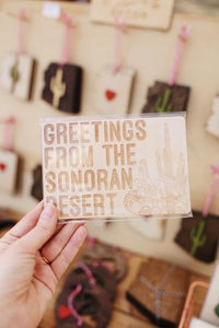 Greetings From The Sonoran Desert Wooden Postcard