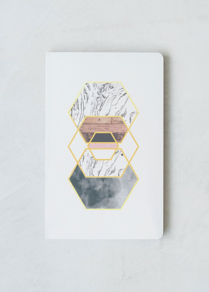 Gold Hexes Layflat Journal | Lined