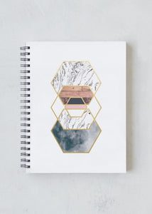 Gold Hexes Spiral Lined Notebook (L)