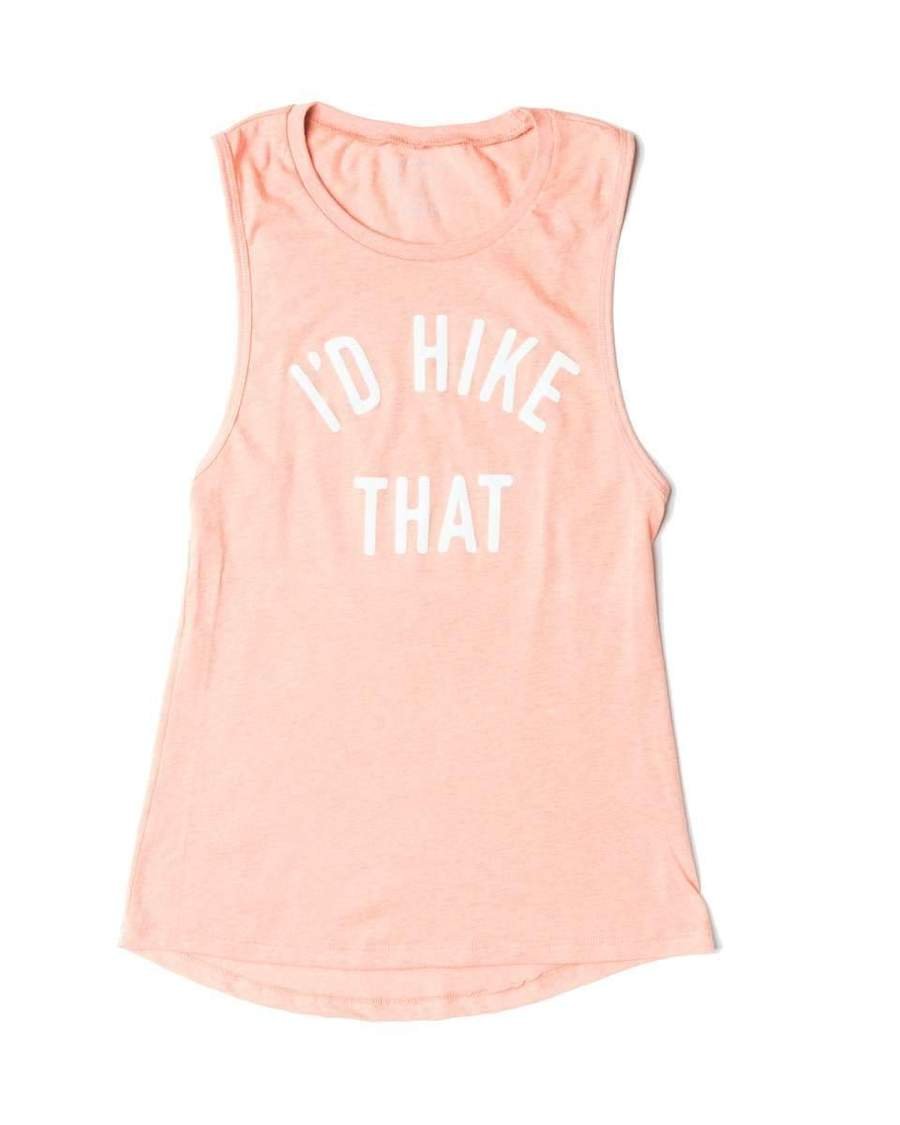 I'd Hike That Women's Muscle Tank | Salmon