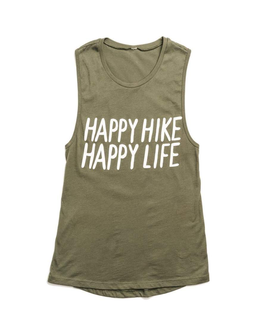 Happy Hike Women's Muscle Tank | Military Green