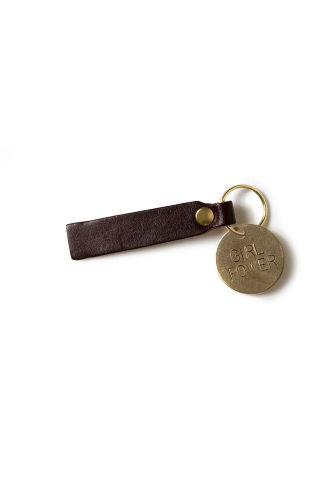 Girl Power Brass & Leather Keychain